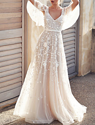 cheap -A-Line Wedding Dresses V Neck Court Train Tulle Sleeveless Simple Wedding Dress in Color See-Through with Appliques 2020