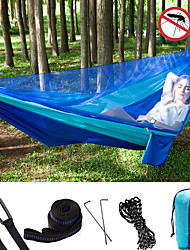 cheap -Camping Hammock with Mosquito Net Double Hammock Outdoor Portable Breathable Anti-Mosquito Ultra Light (UL) Foldable Parachute Nylon with Carabiners and Tree Straps for 2 person Hunting Fishing Hiking