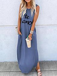 cheap -Women's Shift Dress Maxi long Dress - Sleeveless Letter Spring Fall Casual Daily 2020 Black Blue Blushing Pink Khaki Green S M L XL