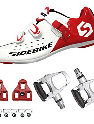 cheap -SIDEBIKE Adults' Cycling Shoes With Pedals & Cleats Road Bike Shoes Nylon Cushioning Cycling White / Black / Red Men's Cycling Shoes / Synthetic Microfiber PU