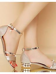 cheap -Women's Sandals Summer Block Heel Peep Toe Daily PU Gold / Silver