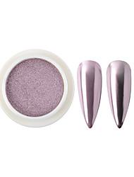 Недорогие -1 коробка светло-фиолетовый тени для век зеркало блеск для ногтей порошок твердого искусства ногтя пигмент порошок блестящий хром украшения