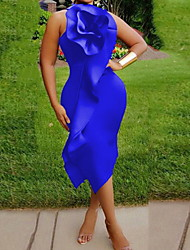 cheap -Women's Shift Dress Knee Length Dress - Sleeveless Solid Color Summer Casual Daily 2020 Fuchsia Green S M L XL XXL XXXL