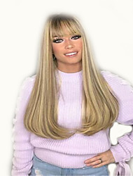 cheap -Synthetic Wig Curly Middle Part Wig Long Light golden Synthetic Hair 18 inch Women's Simple Life Women Blonde