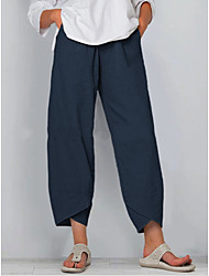 cheap -Women's Basic Loose Wide Leg Pants - Solid Colored Black Blue Khaki S / M / L