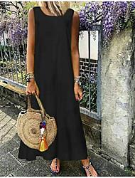 cheap -Women's Sheath Dress - Sleeveless Solid Color Summer Elegant 2020 White Black S M L XL XXL XXXL XXXXL XXXXXL