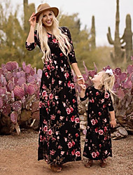 cheap -Mommy and Me Boho Sweet Black & Red Floral Print 3/4 Length Sleeve Knee-length Dress Black