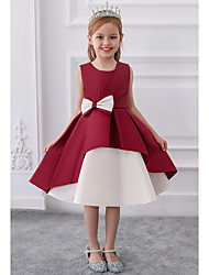 cheap -Princess / A-Line Knee Length Wedding / Party Flower Girl Dresses - Mikado Sleeveless Jewel Neck with Bow(s) / Tiered