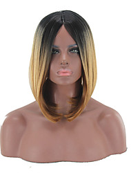 cheap -Synthetic Wig kinky Straight Middle Part Wig Short Light Brown Synthetic Hair 12 inch Women's Simple Life Women Brown