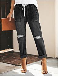 abordables -Femme Actif Quotidien Jogger Pantalon - Couleur Pleine Troué Extérieur Noir Bleu Gris S M L