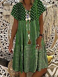 cheap -Women's Plus Size Knee Length Dress - Short Sleeve Polka Dot Print Summer V Neck Casual Vacation 2020 Green S M L XL XXL XXXL XXXXL XXXXXL