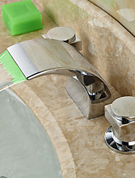 cheap -Bathroom Sink Faucet - LED / Widespread / Waterfall Chrome Deck Mounted Two Handles Three HolesBath Taps/Faucet Waterfall/HandlesBath Taps/ HandlesBath Taps