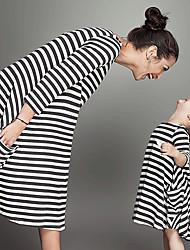 cheap -Mommy and Me Vintage Sweet Black & White Striped Print Short Sleeve Knee-length Dress Black