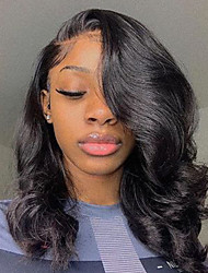 cheap -Human Hair Lace Front Wig Bob Short Bob Free Part style Brazilian Hair Wavy Black Wig 130% Density with Baby Hair Natural Hairline For Black Women 100% Virgin 100% Hand Tied Women's Short Human Hair