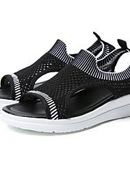 cheap -Women's Sandals Flat Sandal Summer Flat Heel Peep Toe Daily Mesh Black / Pink / Blue