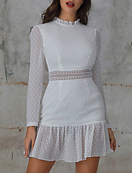 cheap -Woemens Apparel High Neck Dot Lace White Casual Office Dress MM0251