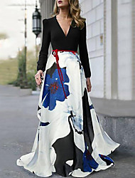 cheap -A-Line Floral Maxi Holiday Prom Dress V Neck Long Sleeve Floor Length Spandex Satin with Pattern / Print 2020 / Puff Balloon Sleeve