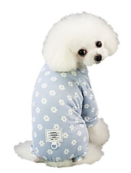 cheap -Dog Jumpsuit Pajamas Pants Flower Casual / Daily Dog Clothes Puppy Clothes Dog Outfits Blue Pink Costume for Girl and Boy Dog Cotton S M L XL XXL