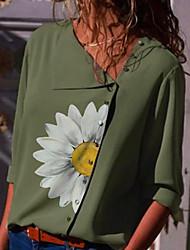 preiswerte -Damen Blumen Bluse Alltag Grün