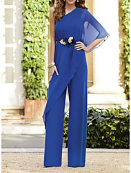 cheap -Pantsuit / Jumpsuit Mother of the Bride Dress Elegant One Shoulder Floor Length Chiffon Half Sleeve with Ruffles 2020