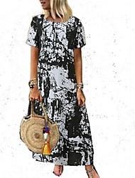 זול -בגדי ריקוד נשים שמלת שיפט שמלת מקסי - שרוול קצר קולור בלוק קיץ אלגנטית 2020 שחור כתום תלתן כחול נייבי S M L XL XXL XXXL XXXXL XXXXXL