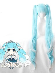 cheap -Vocaloid Snow Miku Cosplay Wigs Women's With 2 Ponytails With Bangs 28 inch Heat Resistant Fiber Curly Blue Teen Adults' Anime Wig