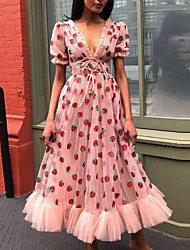 cheap -Women's A-Line Dress Maxi long Dress - Short Sleeves Polka Dot Summer Formal 2020 Blushing Pink S M L XL