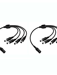 cheap -ZOSI 2PCS 1 to 4 DC Power Cables Video and Power 12V DC Integrated Cable for CCTV Security Systems BNC Cables and Power Supply