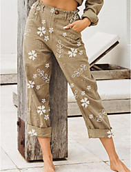 cheap -Women's Basic Loose Chinos Pants - Print Black Blushing Pink Khaki S / M / L