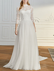 cheap -A-Line Wedding Dresses High Neck Sweep / Brush Train Lace Tulle 3/4 Length Sleeve Vintage Sexy Wedding Dress in Color See-Through Backless with Bow(s) Pleats Embroidery 2020