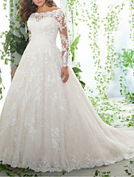 cheap -A-Line Wedding Dresses Off Shoulder Court Train Lace Tulle Long Sleeve Formal Plus Size Illusion Sleeve with Embroidery 2020