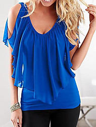 cheap -Women's Blouse Shirt Solid Colored Layered Cut Out Asymmetric V Neck Tops Basic Top Black Blue Purple