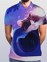 cheap -Men's Graphic Animal Cat Polo Basic Elegant Daily Going out Rainbow