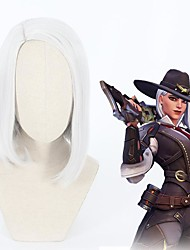cheap -Cosplay Wig Ashe Overwatch Straight Asymmetrical Wig Short Sliver White Synthetic Hair 14 inch Women's Anime Cosplay Lovely Silver White