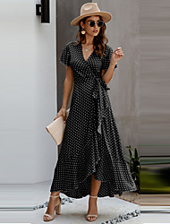 cheap -Women's Chiffon Short Sleeves Polka Dot Summer Sexy 2020 White Black S M L XL
