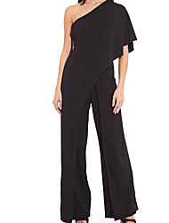 cheap -Pantsuit / Jumpsuit Mother of the Bride Dress Elegant One Shoulder Floor Length Chiffon Short Sleeve with Pleats 2020