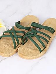 cheap -Women's Slippers & Flip-Flops Outdoor Slippers Beach Slippers Flat Heel Open Toe Daily PVC Summer White Black Pink