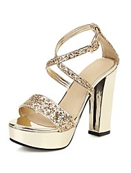 cheap -Women's Sandals Spring & Summer Chunky Heel Open Toe Classic Wedding Party & Evening Buckle Solid Colored PU Gold / Silver