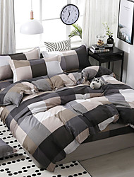 cheap -Simple wind-printed plaid mosaic pattern bedding four-piece set quilt sheet pillow cover dormitory single double