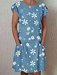 cheap -Women's Shift Dress Daisy Knee Length Dress - Short Sleeves Floral Pocket Print Summer Casual Elegant 2020 Blue Green Gray Light Blue S M L XL XXL XXXL