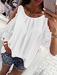 cheap -Women's Solid Colored Loose T-shirt - Cotton Daily White / Black / Red / Blushing Pink / Fuchsia / Light Blue