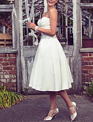 cheap -A-Line Wedding Dresses Strapless Tea Length Taffeta Half Sleeve Sleeveless Vintage Sexy Wedding Dress in Color with Pleats Ruched Crystal Brooch 2020