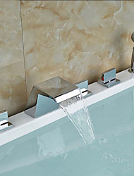 cheap -Bathtub Faucet - Contemporary Chrome Tub And Shower Ceramic Valve Bath Shower Mixer Taps