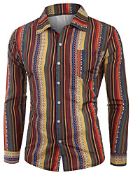 cheap -Men's Striped Shirt Tropical Hawaiian Holiday Going out Button Down Collar Red / Orange / Green / Long Sleeve