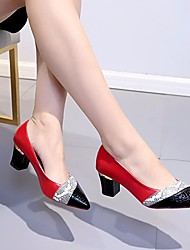 cheap -Women's Loafers & Slip-Ons Summer Chunky Heel Closed Toe Daily PU Black / Red