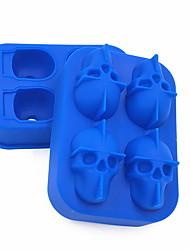 Недорогие -3d четырехсекционный череп лоток льда плесень партия бар творческий хоккей силиконовый череп лоток льда плесень