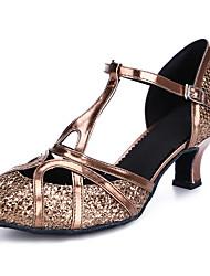 cheap -Women's Latin Shoes Modern Shoes Ballroom Shoes Salsa Shoes Heel Buckle Cuban Heel Black Bronze Gold Buckle