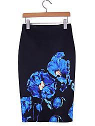 cheap -Women's Pencil Skirts - Floral Royal Blue S M L