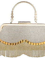 cheap -Women's Bags Alloy Evening Bag Tassel Zipper Solid Color Wedding Bags Party Daily Gold