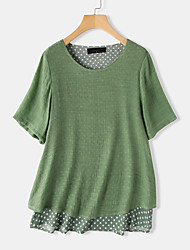 cheap -Women's Polka Dot Patchwork Blouse Basic Daily Fuchsia / Green